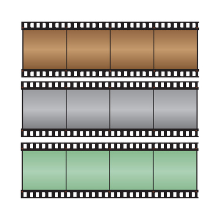celluloid film:  Brown, gray, green with hi-light film strip vector illustration Illustration