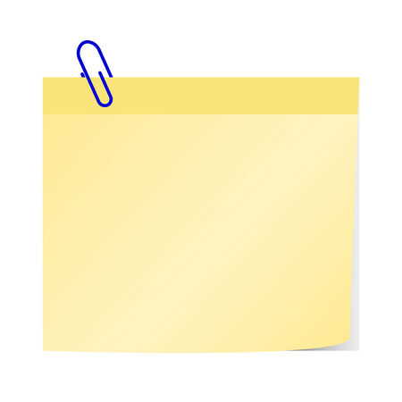 paper note: blank yellow paper note with blue paper clip