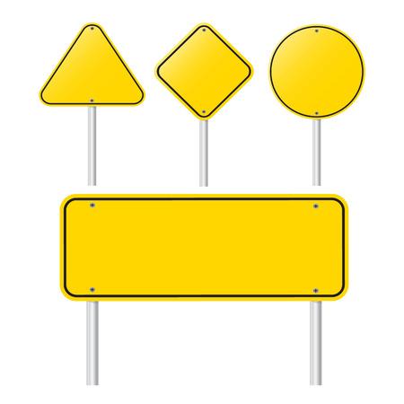 Satz von Blank Yellow Sign - Leere gelbe Symbol auf weißem Hintergrund Standard-Bild - 30902603