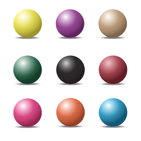 set of colorful ball glossy spheres on white.