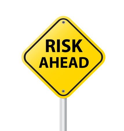 yellow road sign as a warning of risk ahead vector illustration Vector
