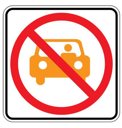 obey: Warning traffic sign, NO PARKING (yellow car)