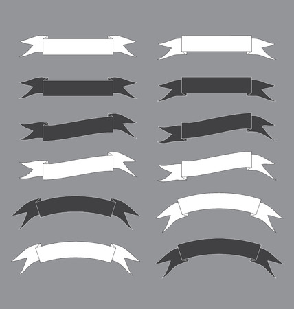 black and white ribbon banner vector Illustration