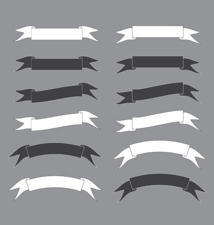 black and white ribbon banner vector Illustration