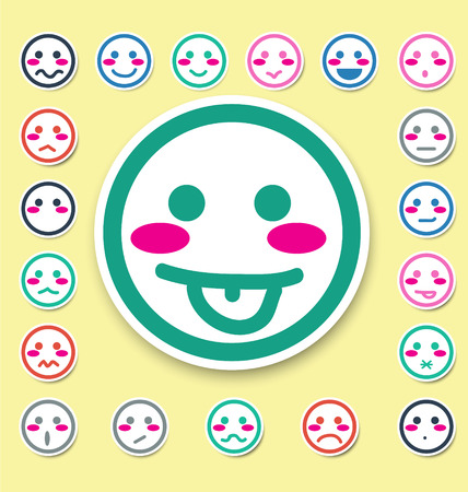 emotion faces icons set vector illustration Vector