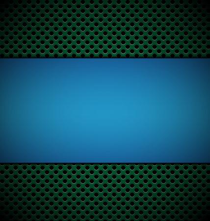 blue: blank blue plate for design on green grill texture background vector illustration Illustration