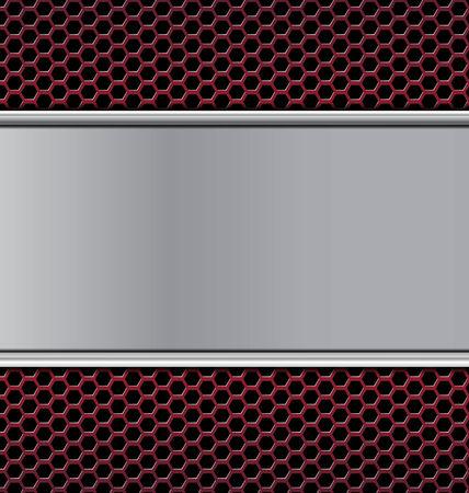 speaker grill: metal texture on black hexagon perforated carbon speaker grill texture red background vector illustration
