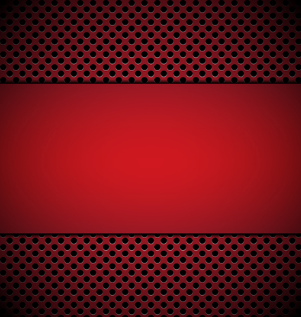 blank red plate for design on red grill texture background vector illustration Vector