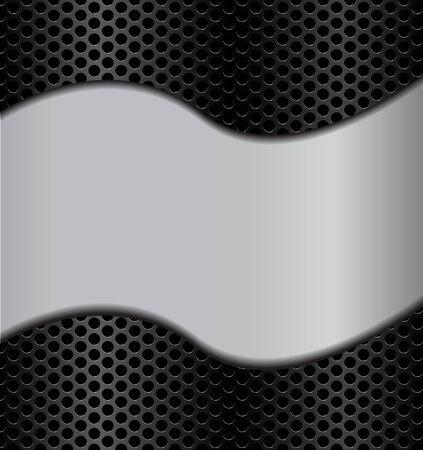 la texture du métal d'onde sur le cercle perforé noir haut-parleur de carbone vecteur grill texture illustration