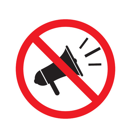 sign not to talk by phone: No megaphone or no speaker sign