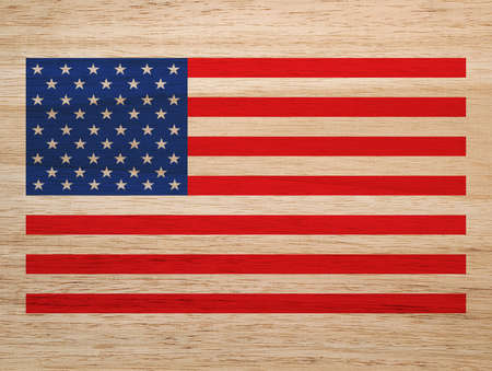 flagged: American flag, wooden background
