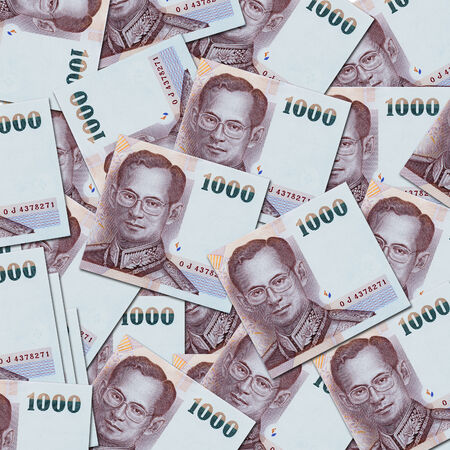 financial reward: Close up of thailand currency, thai baht with the images of Thailand King. Denomination of 1000 bahts.