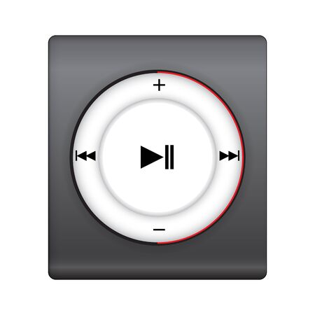 hilight: black music player with red cycle hi-light. vector illustration