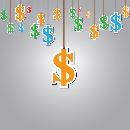 hung: hung symbols Dollar with space for text. Vector Illustration Illustration