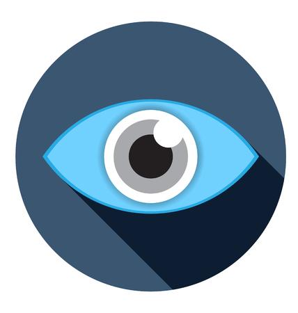 ojos azules: icono plano visual con larga sombra ilustración vectorial Vectores