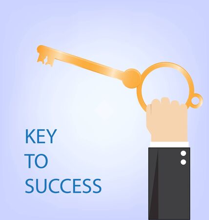 smart goals: key to success,hand of businessman with golden key,vector illustration