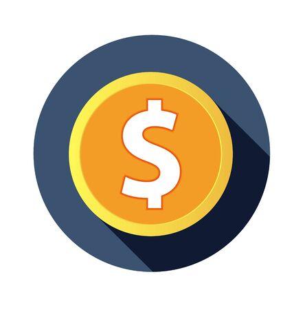 Flat dollar icon with long shadow. vector illustration Vector