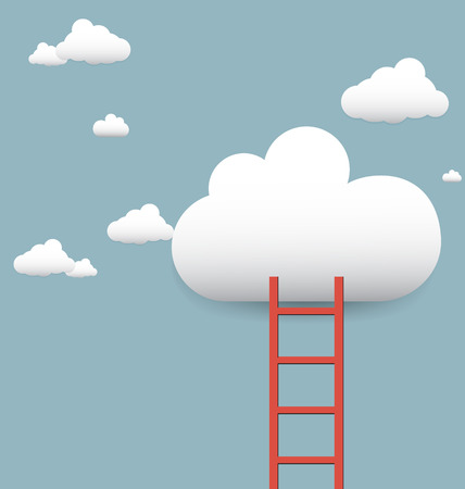 stairs leading to the clouds vector Vector