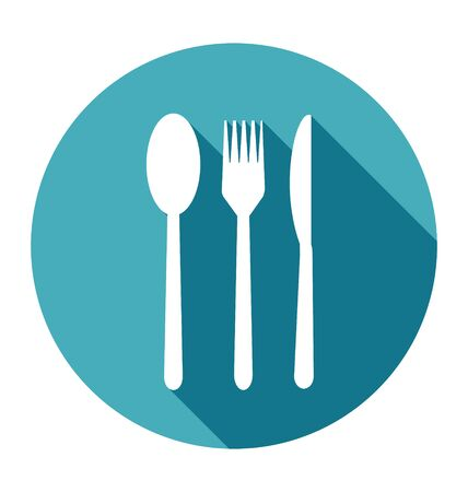 restaurant food: Knife, Fork and Spoon Icons set in flat style with long shadows Illustration