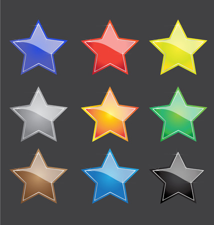 hollywood christmas: vector color star button with sparkles