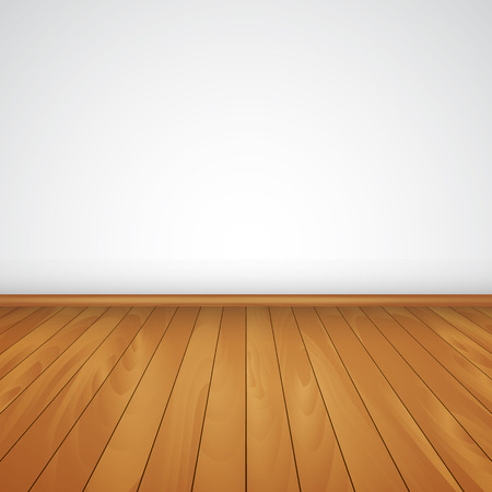 white wood floor: realistic wood floor and white wall  vector illustration