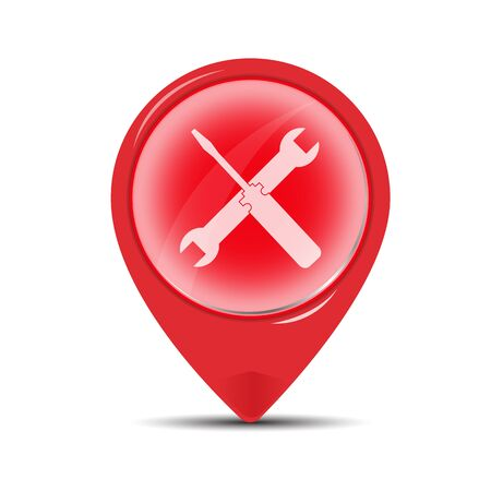 red point: red point of service symbol.  screwdriver sign icon.vector illustration.