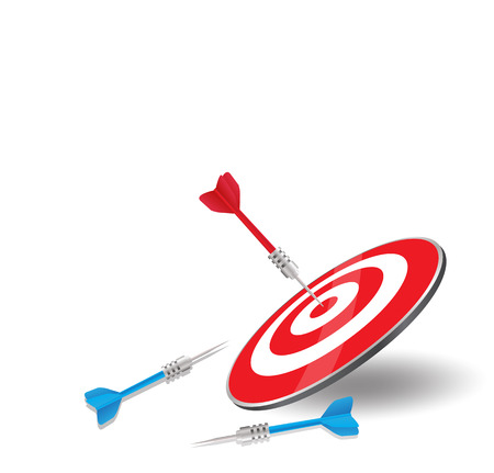 achieved: The red arrow achieved hit center Target of dart board with blue darts miss and failure  vector illustration