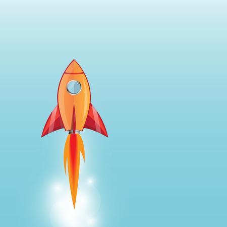 booster: fus�e style cartoon lancement avec une flamme sortir de l'amplificateur