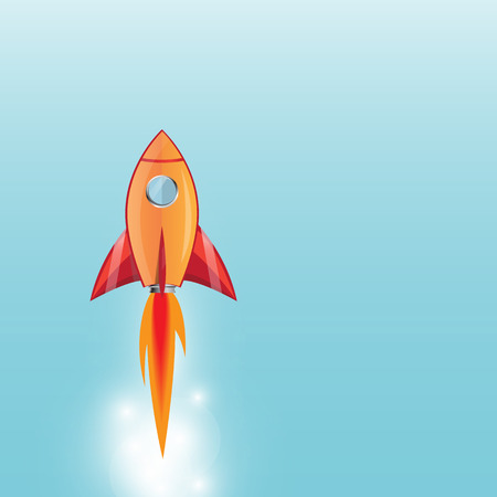 booster: rocket cartoon style launching  with flame going out of the booster Illustration