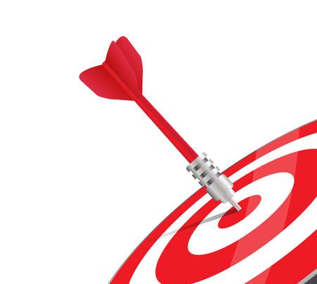 Un dardo rojo golpear el centro de una diana. Imagen del vector sobre blanco. Diseño moderno para propósitos comerciales o de marketing