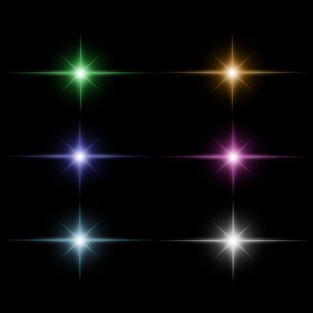 set of Star burst  light beam vector Çizim