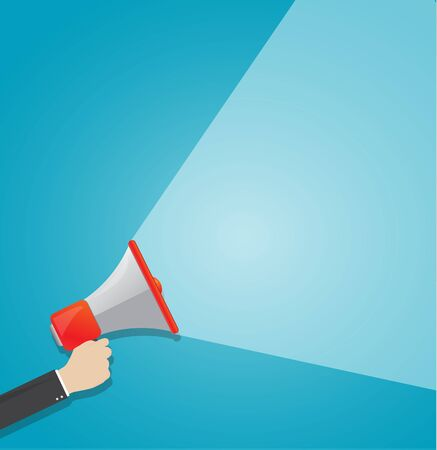 business man holding megaphone Flat design business  announce concept Digital marketing illustration vector