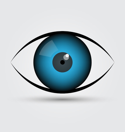 ojo azul: Icono del ojo azul del vector Vectores