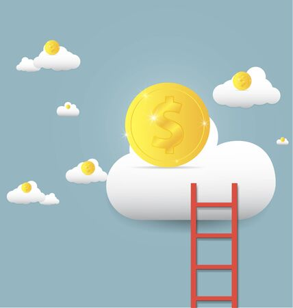 trap naar de hemel: vector illustration stairs leading to gold coin on clouds ,Growth up and success concept