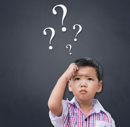 Smart Asian boy thinking Stok Fotoğraf