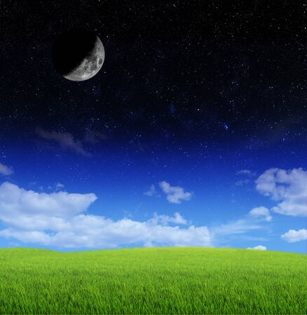 blue stars: crescent moon and stars with clouds and grass