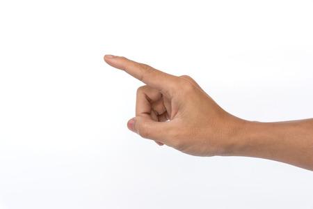 Männlich rechte Hand zeigt. Isoliert auf weißem Hintergrund Standard-Bild - 53651785