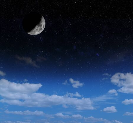 crescent: crescent moon and stars with clouds