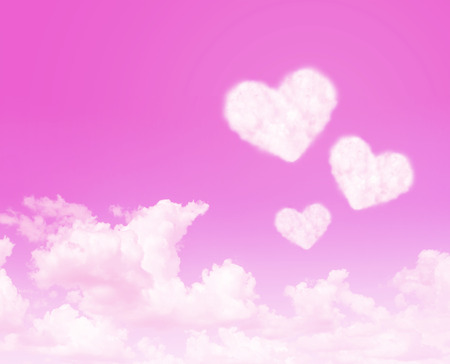 relationship love: Heart cloud on pink sky abstract background. Love concept