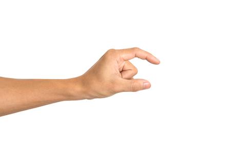 Männliche Hand mit unsichtbarem Zeug, isoliert auf weißem Hintergrund Standard-Bild - 90334013