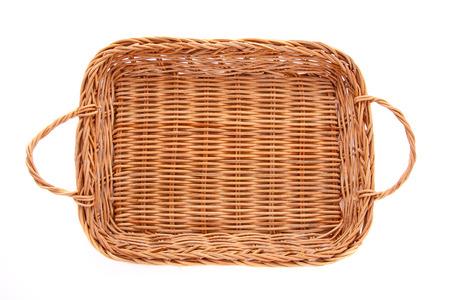 Marrón cesta de mimbre aislada sobre fondo blanco, vista desde arriba Foto de archivo - 36084881