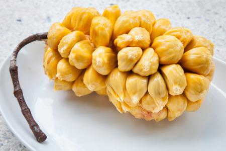 integer: Group of fresh chempedak arils, a fruit native to South East Asia region. (scientific name Artocarpus integer)
