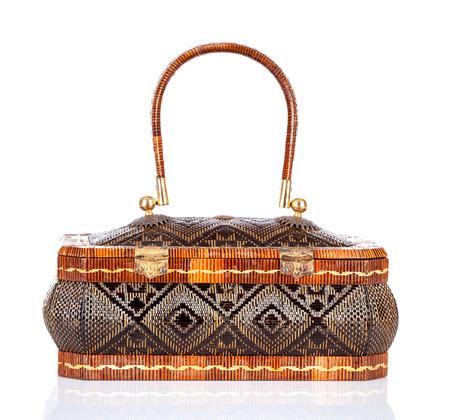 yan: Thai handicraft elegance woman basketry on white background ,Yan lipao basketry Stock Photo