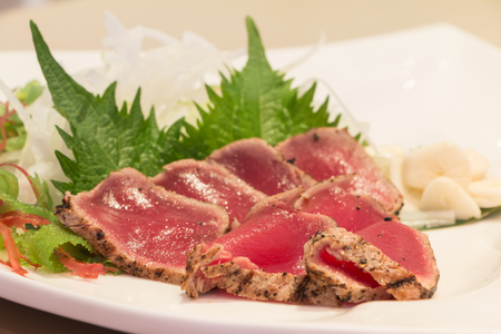 Fresh maguro tataki with vegetable photo