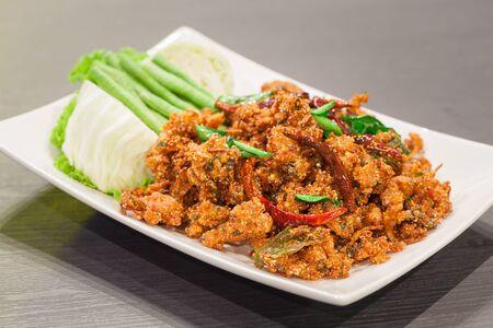 isaan: Thai cuisine spicy crispy pork salad, Larb