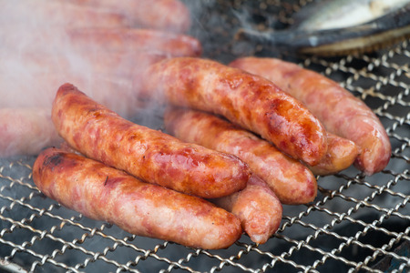 taiwanese: Taiwanese sausages on the grill