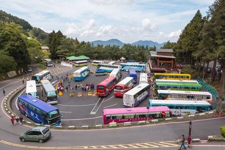 visitors area: Alishan National Scenic Area, Taiwan - April 18, 2015 : Bus passengers waiting Know that this place has attracted the attention of many visitors, Taiwan on April 18, 2015. Editorial