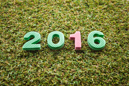 artifical: Year 2016 on artifical grass Stock Photo