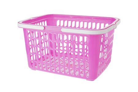 shopping basket: Empty pink plastic shopping basket on white background Stock Photo