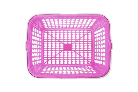 new products: Overhead view of empty pink plastic shopping basket on white background